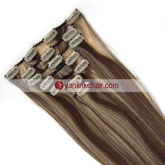 7PCS Full Head Clips on/in Remy Human Hair Extensions Straight (8/613#) - VANLINKE HUMAN HAIR EXTENSIONS