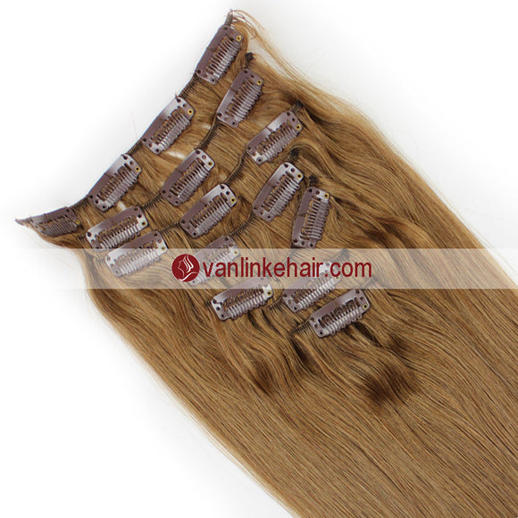 7PCS Full Head Clips on/in Remy Human Hair Extensions Straight Light Brown(12#) - VANLINKE HUMAN HAIR EXTENSIONS