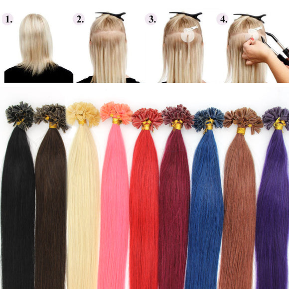 Wholesale  100s Pre Bonded Nail U Tip Remy Human Hair Extensions Straight