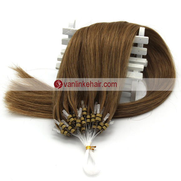 16-22inches 50s 1g/s Easy Loop Double Micro Ring Beads Tip Remy Human Hair Extensions Straight Light Brown (12#) - VANLINKE HUMAN HAIR EXTENSIONS