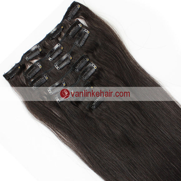7PCS Full Head Clips on/in Remy Human Hair Extensions Straight Dark Brown(2#) - VANLINKE HUMAN HAIR EXTENSIONS