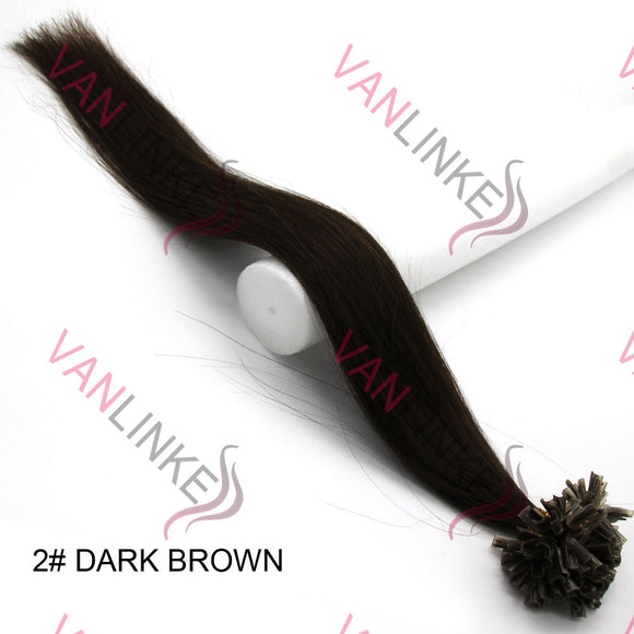 16-26Inches 100s Pre Bonded Nail U Tip Remy Human Hair Extensions Straight Dark Brown(2#) - VANLINKE HUMAN HAIR EXTENSIONS