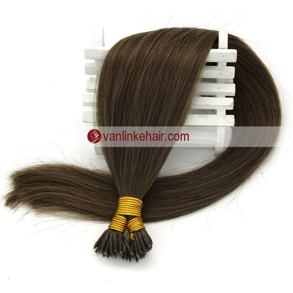 16-22Inches 50s 1g/s Keratin Stick I Tip Human Hair Extensions Straight Ash Brown(8#) - VANLINKE HUMAN HAIR EXTENSIONS