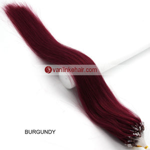 18inches 100s Easy Loop/Micro Ring Beads Tip Remy Human Hair Extensions Straight #Bug - VANLINKE HUMAN HAIR EXTENSIONS