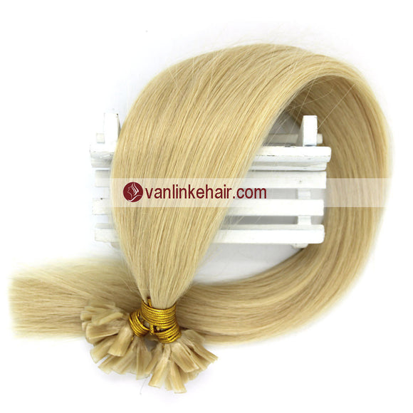 16-22Inches 50s 1g/s Pre Bonded Nail U Tip Remy Human Hair Extensions Straight White Blonde(60#) - VANLINKE HUMAN HAIR EXTENSIONS