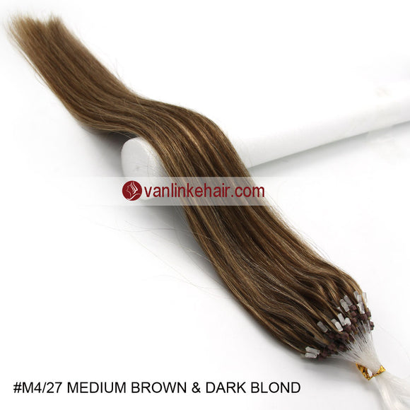 16-26inches 100s Easy Loop/Micro Ring Beads Tip Remy Human Hair Extensions Straight #4/27 - VANLINKE HUMAN HAIR EXTENSIONS