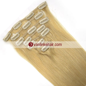 7PCS Full Head Clips on/in Remy Human Hair Extensions Straight Blonde(24#) - VANLINKE HUMAN HAIR EXTENSIONS