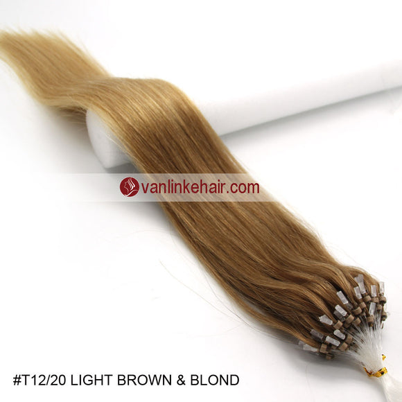 16-26inches 100s Easy Loop/Micro Ring Beads Tip Remy Human Hair Extensions Straight #T12/20 - VANLINKE HUMAN HAIR EXTENSIONS