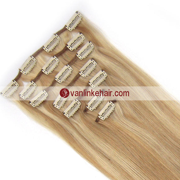 7PCS Full Head Clips on/in Remy Human Hair Extensions Straight (18/613#) - VANLINKE HUMAN HAIR EXTENSIONS