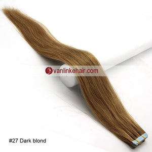 20pcs PU Seamless Skin Tape In Remy Human Hair Extensions Straight Dark Blonde(27#) - VANLINKE HUMAN HAIR EXTENSIONS