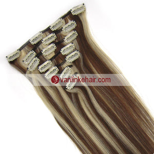 7PCS Full Head Clips on/in Remy Human Hair Extensions Straight Mdeium Brown/Light Blonde(4/613#) - VANLINKE HUMAN HAIR EXTENSIONS