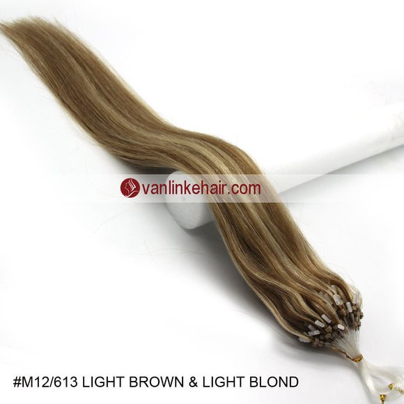 16-26inches 100s Easy Loop/Micro Ring Beads Tip Remy Human Hair Extensions Straight #12/613 - VANLINKE HUMAN HAIR EXTENSIONS