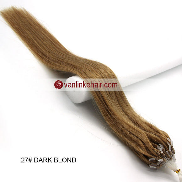 16-26inches 100s Easy Loop/Micro Ring Beads Tip Remy Human Hair Extensions Straight Dark Blonde(#27) - VANLINKE HUMAN HAIR EXTENSIONS