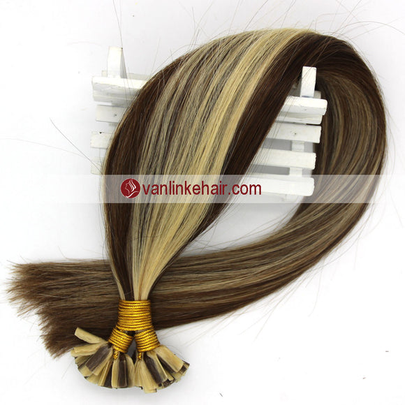 16-22Inches 50s 1g/s Pre Bonded Nail U Tip Remy Human Hair Extensions Straight M4/613# - VANLINKE HUMAN HAIR EXTENSIONS