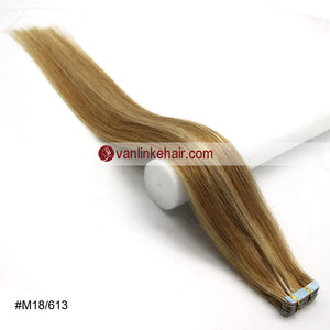 20pcs PU Seamless Skin Tape In Remy Human Hair Extensions Straight(18/613#) - VANLINKE HUMAN HAIR EXTENSIONS