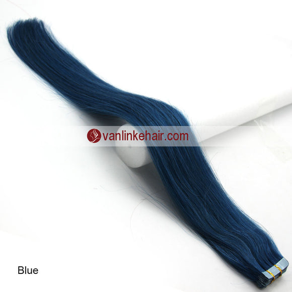 20pcs PU Seamless Skin Tape In Remy Human Hair Extensions Straight Blue - VANLINKE HUMAN HAIR EXTENSIONS