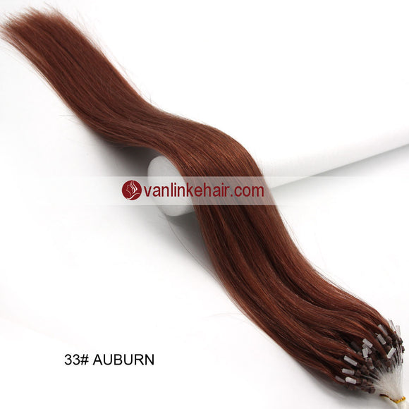 16-26inches 100s Easy Loop/Micro Ring Beads Tip Remy Human Hair Extensions Straight Dark Auburn(#33) - VANLINKE HUMAN HAIR EXTENSIONS