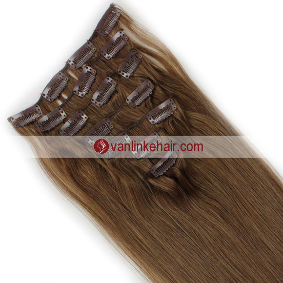 7PCS Full Head Clips on/in Remy Human Hair Extensions Straight Ash Brown(8#) - VANLINKE HUMAN HAIR EXTENSIONS