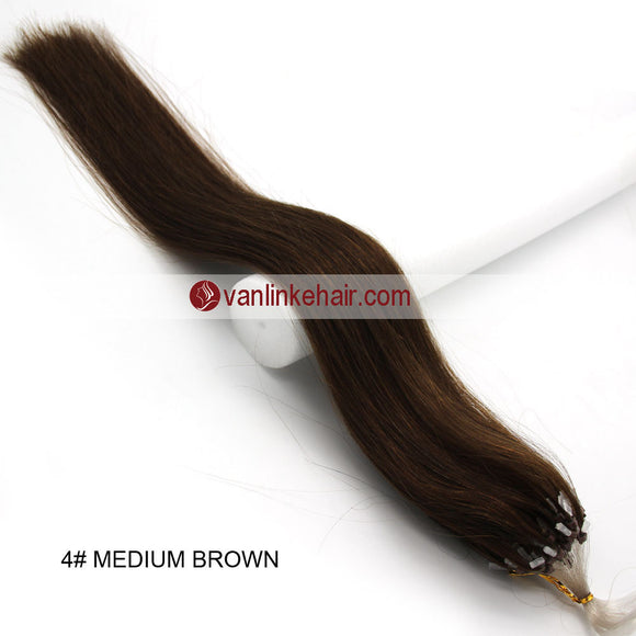 16-26inches 100s Easy Loop/Micro Ring Beads Tip Remy Human Hair Extensions Straight Medium Brown(#4) - VANLINKE HUMAN HAIR EXTENSIONS