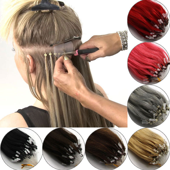 Wholesale  Easy Loop Micro Ring Beads Tip Human Hair Extensions Straight