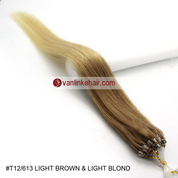 16-26inches 100s Easy Loop/Micro Ring Beads Tip Remy Human Hair Extensions Straight #T12/613 - VANLINKE HUMAN HAIR EXTENSIONS