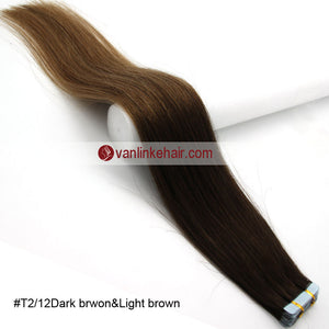 20pcs PU Seamless Skin Tape In Ombre Remy Human Hair Extensions Straight T2/12 - VANLINKE HUMAN HAIR EXTENSIONS