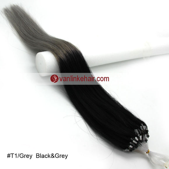 16-26inches 100s Easy Loop/Micro Ring Beads Tip Remy Human Hair Extensions Straight #T1/Grey - VANLINKE HUMAN HAIR EXTENSIONS