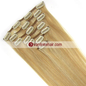 7PCS Full Head Clips on/in Remy Human Hair Extensions StraightDark Blonde/Light Blonde (27/613#) - VANLINKE HUMAN HAIR EXTENSIONS
