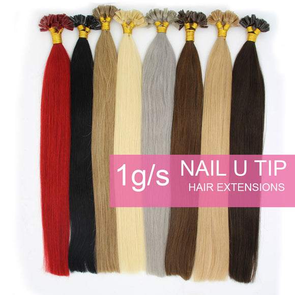 Wholesale  50s 1g/s Pre Bonded Nail U Tip Remy Human Hair Extensions Straight