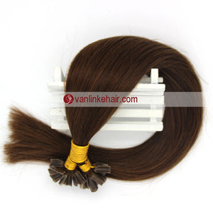 16-22Inches 50s 1g/s Pre Bonded Nail U Tip Remy Human Hair Extensions Straight Medium Brown(4#) - VANLINKE HUMAN HAIR EXTENSIONS