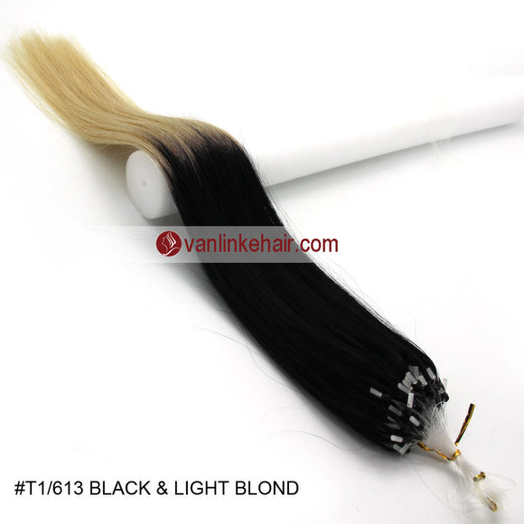 16-26inches 100s Easy Loop/Micro Ring Beads Tip Remy Human Hair Extensions Straight #T1/613 - VANLINKE HUMAN HAIR EXTENSIONS