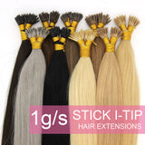 16Inches 50s 1g/s Pre Bonded Keratin  Stick I Tip Human Hair Extensions Straight