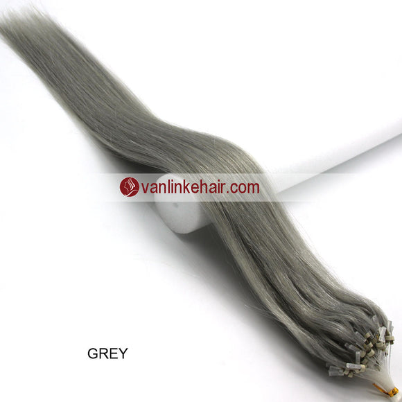 16-26inches 100s Easy Loop/Micro Ring Beads Tip Remy Human Hair Extensions Straight #Grey - VANLINKE HUMAN HAIR EXTENSIONS