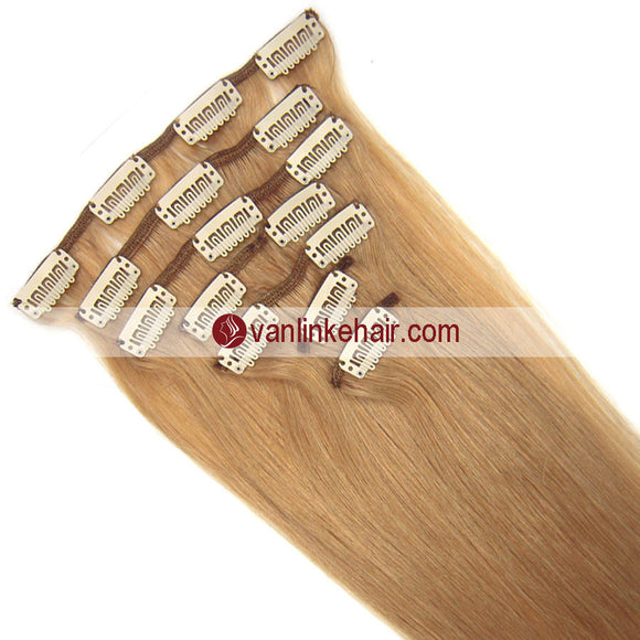 7PCS Full Head Clips on/in Remy Human Hair Extensions Straight Dark Blonde(27#) - VANLINKE HUMAN HAIR EXTENSIONS