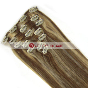 7PCS Full Head Clips on/in Remy Human Hair Extensions Straight Light Brown/Light Blonde(12/613#) - VANLINKE HUMAN HAIR EXTENSIONS