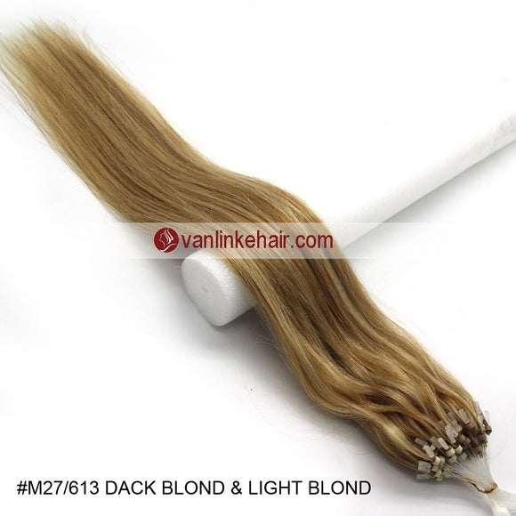 16-26inches 100s Easy Loop/Micro Ring Beads Tip Remy Human Hair Extensions Straight #27/613 - VANLINKE HUMAN HAIR EXTENSIONS