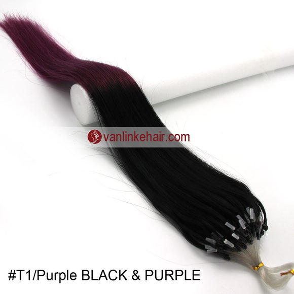 16-26inches 100s Easy Loop/Micro Ring Beads Tip Remy Human Hair Extensions Straight #T1/Purple - VANLINKE HUMAN HAIR EXTENSIONS