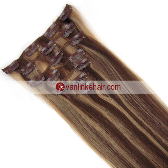 7PCS Full Head Clips on/in Remy Human Hair Extensions Straight Medium Brown/Dark Blonde(4/27#) - VANLINKE HUMAN HAIR EXTENSIONS