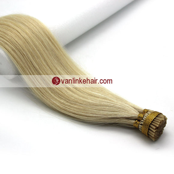 16-24Inches 100s Keratin Stick I Tip Human Hair Extensions Straight White Blonde(60#) - VANLINKE HUMAN HAIR EXTENSIONS