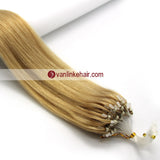 16-26inches 100s Easy Loop/Micro Ring Beads Tip Remy Human Hair Extensions Straight Blonde(#24) - VANLINKE HUMAN HAIR EXTENSIONS