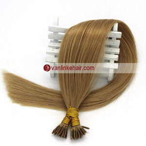 16-22Inches 50s 1g/s Keratin Stick I Tip Human Hair Extensions Straight Dark Blonde(27#) - VANLINKE HUMAN HAIR EXTENSIONS