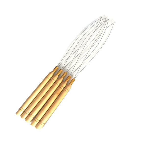 12PCS Wooden Hair Extension Loop Needle Threader DIY Hook Tool