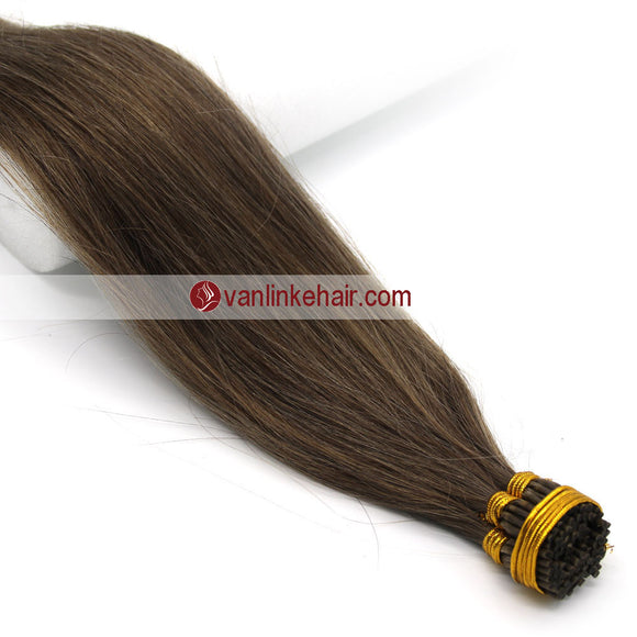 16-20Inches 100s Keratin Stick I Tip Human Hair Extensions Straight Ash Brown(8#) - VANLINKE HUMAN HAIR EXTENSIONS