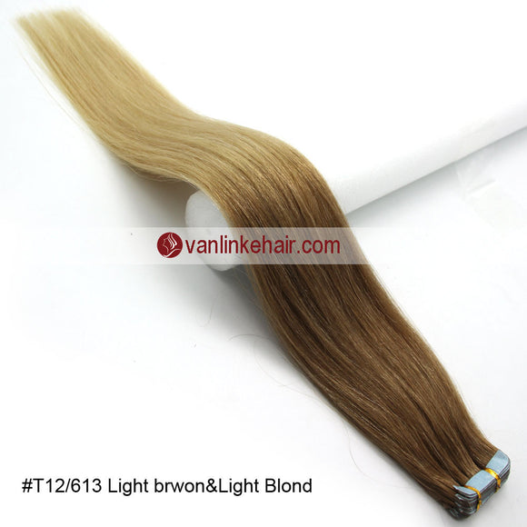 20pcs PU Seamless Skin Tape In Ombre Remy Human Hair Extensions Straight T12/613 - VANLINKE HUMAN HAIR EXTENSIONS