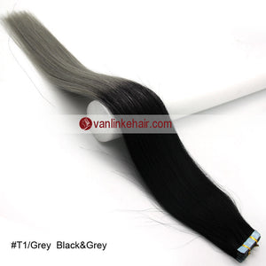 20pcs PU Seamless Skin Tape In Ombre Remy Human Hair Extensions Straight T1/Grey - VANLINKE HUMAN HAIR EXTENSIONS