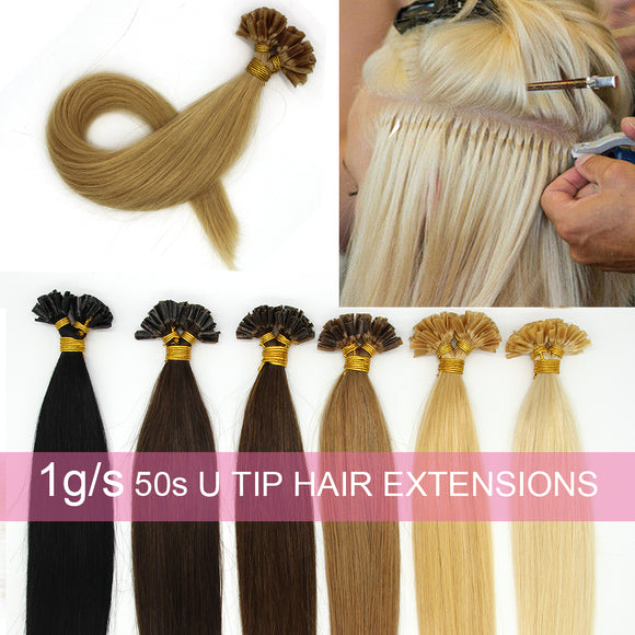 Pre Bonded Nail U Tip Remy Human Hair Extensions Straight 14Inches 50s 1g/s