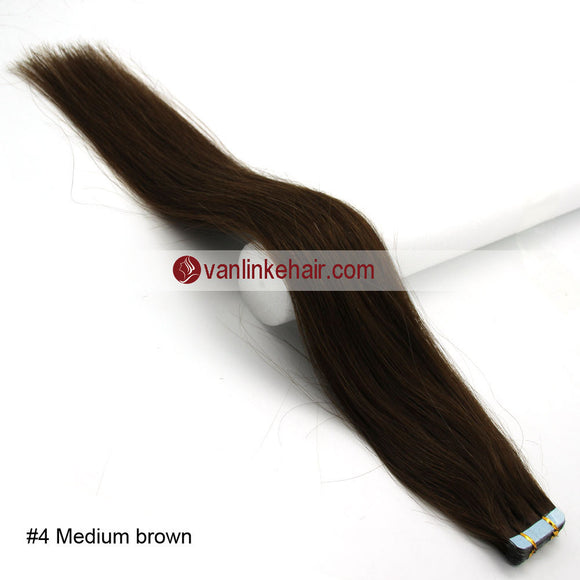 20pcs PU Seamless Skin Tape In Remy Human Hair Extensions Straight Medium Brown(4#) - VANLINKE HUMAN HAIR EXTENSIONS