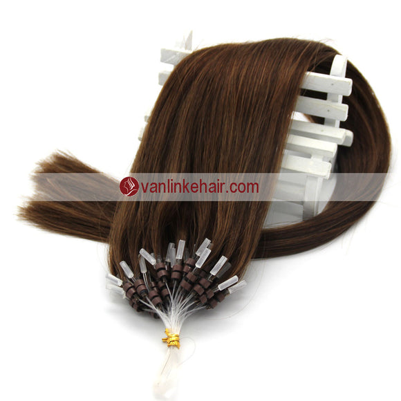 16-22inches 50s 1g/s Easy Loop Double Micro Ring Beads Tip Remy Human Hair Extensions Straight Medium Brown(4#) - VANLINKE HUMAN HAIR EXTENSIONS