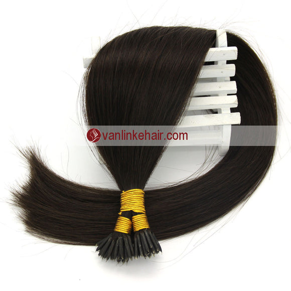 16-22Inches 50s 1g/s Keratin Stick I Tip Human Hair Extensions Straight Dark Brown(2#) - VANLINKE HUMAN HAIR EXTENSIONS