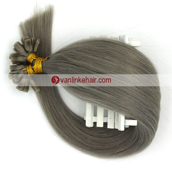 16-22Inches 50s 1g/s Pre Bonded Nail U Tip Remy Human Hair Extensions Straight Grey - VANLINKE HUMAN HAIR EXTENSIONS